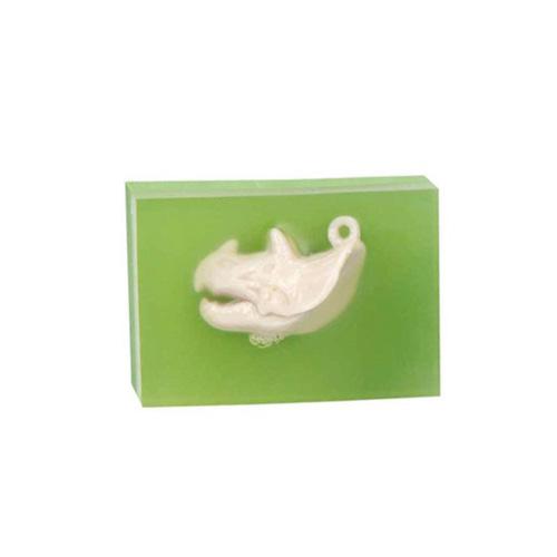 Gumovací pryž Dino World ASST Zelená, s přívěskem kostry dinosaura