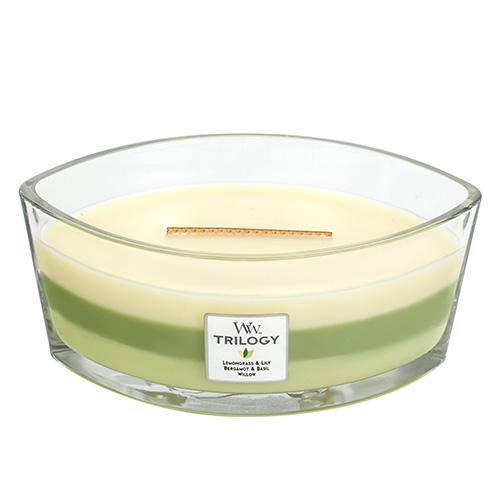 Svíčka Trilogy WoodWick Zelená oáza, 453.6 g