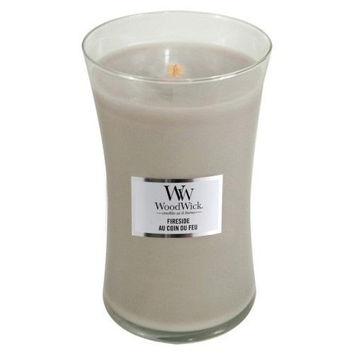 Svíčka oválná váza WoodWick Oheň v krbu, 609.5 g