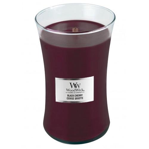 Svíčka oválná váza WoodWick Černá třešeň, 609.5 g