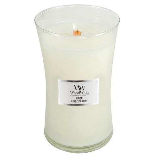 Svíčka oválná váza WoodWick Čisté prádlo, 609.5 g
