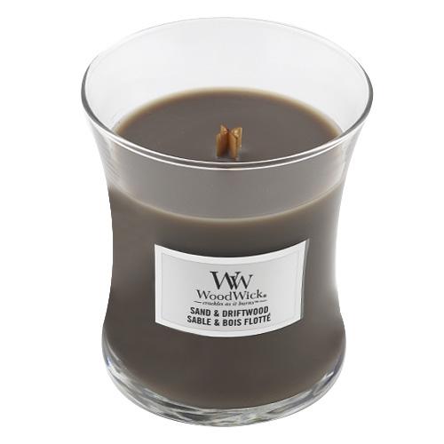 Svíčka oválná váza WoodWick Písek a naplavené dřevo, 275 g