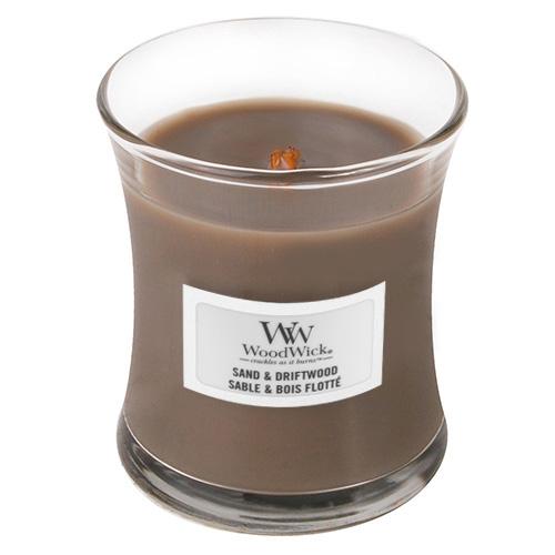 Svíčka oválná váza WoodWick Písek a naplavené dřevo, 85 g