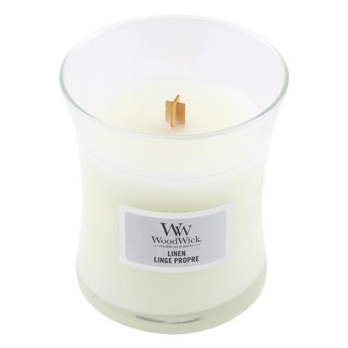 Svíčka oválná váza WoodWick Čisté prádlo, 85 g