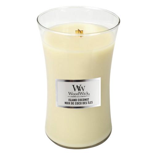 Svíčka oválná váza WoodWick Kokosový ostrov, 609.5 g
