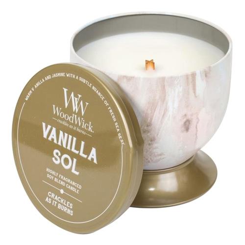 Svíčka plechová dóza WoodWick Božská vanilka, 240.9 g