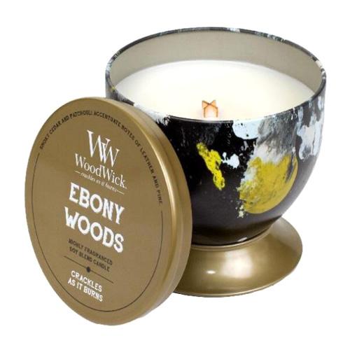 Svíčka plechová dóza WoodWick Ebenové dřevo, 240.9 g