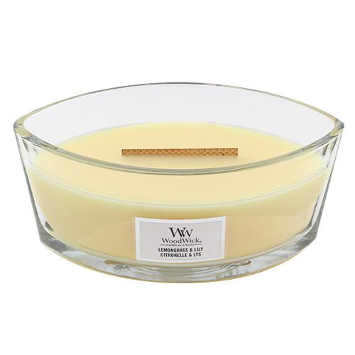 Svíčka dekorativní váza WoodWick Citronová tráva a lilie, 453.6 g