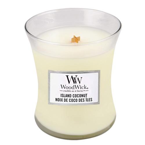 Svíčka oválná váza WoodWick Kokosový ostrov, 275 g