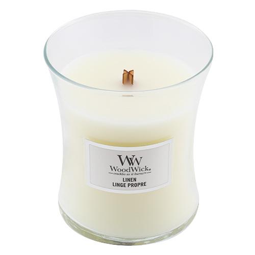 Svíčka oválná váza WoodWick Čisté prádlo, 275 g