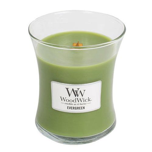 Svíčka oválná váza WoodWick Vůně jehličí, 275 g