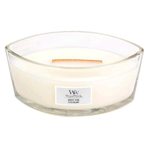 Svíčka dekorativní váza WoodWick Bílý teak, 453.6 g
