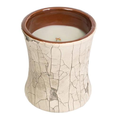 Svíčka keramická oválná váza WoodWick Oheň v krbu, 133.2 g