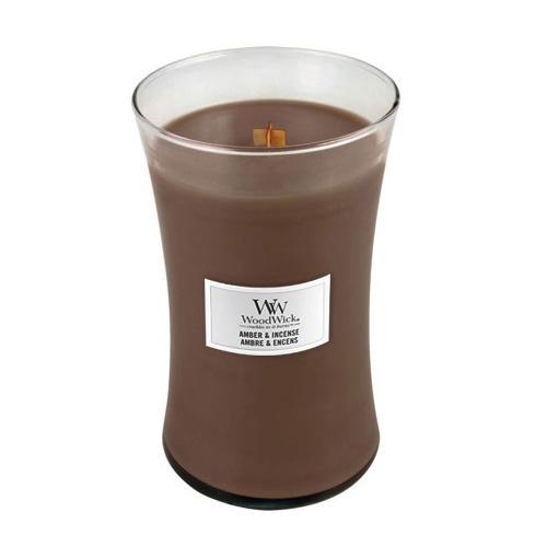Svíčka oválná váza WoodWick Ambra a kadidlo, 609.5 g