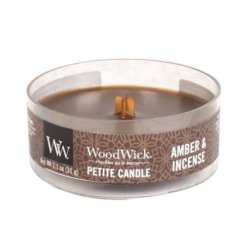 Drobná svíčka WoodWick Ambra a kadidlo, 31 g