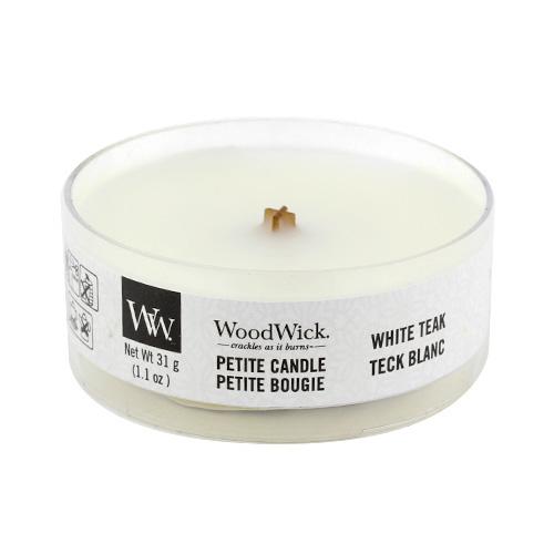 Drobná svíčka WoodWick Bílý teak, 31 g