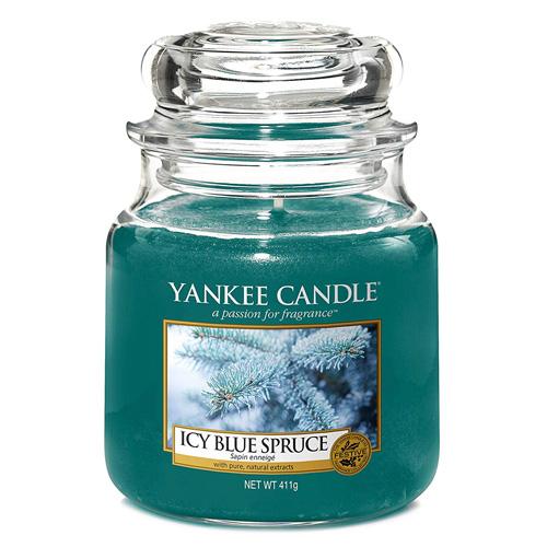Svíčka ve skleněné dóze Yankee Candle Zledovatělý modrý smrk, 410 g