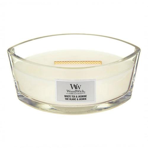 Svíčka dekorativní váza WoodWick Bílý čaj a jasmín, 453.6 g