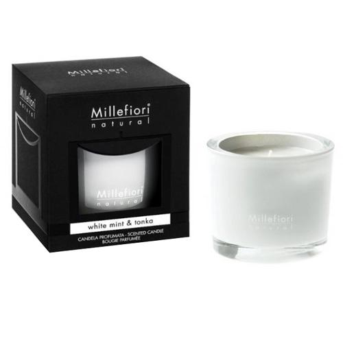 Vonná svíčka Millefiori Milano Bílá máta a tonkové boby, Natural, 180 g