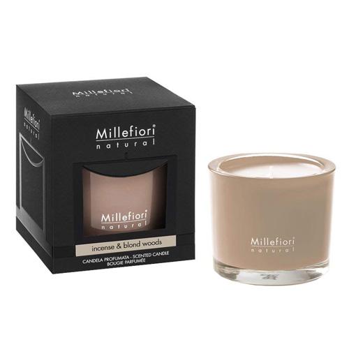 Vonná svíčka Millefiori Milano Kadidlo a světlá dřeva, Natural, 180 g