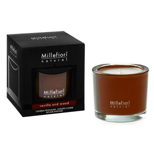 Vonná svíčka Millefiori Milano Vanilka a dřevo, Natural, 180 g