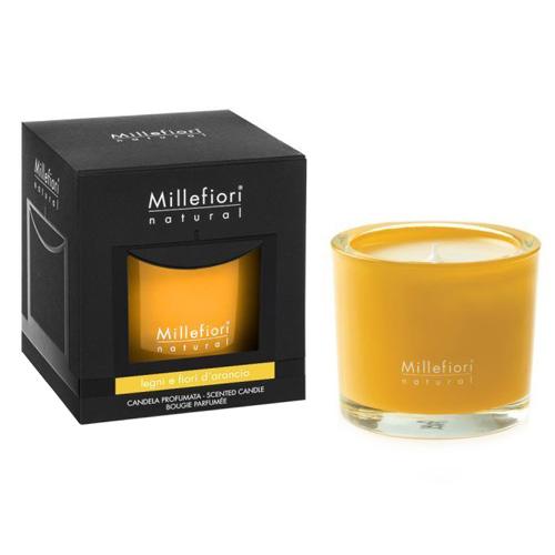 Vonná svíčka Millefiori Milano Dřevo a pomerančové květy, Natural, 180 g