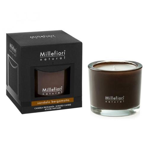 Vonná svíčka Millefiori Milano Santalové dřevo a bergamot, Natural, 180 g