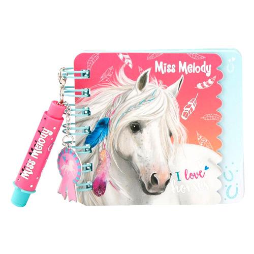 Spirálový bloček Miss Melody ASST I love horses, s mini propiskou
