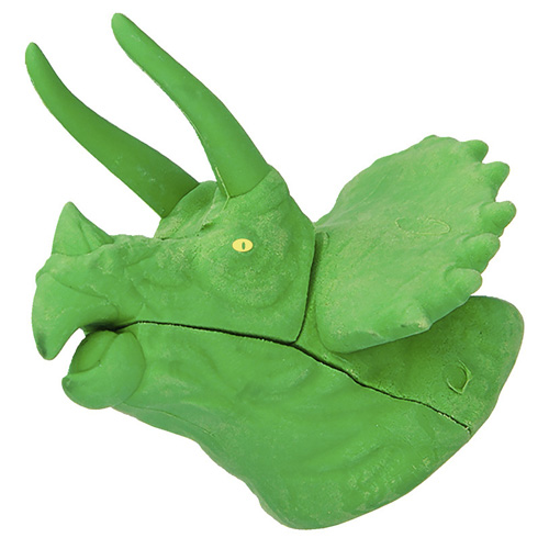 Gumovací pryž Dino World ASST Zelený Triceratops, 3D puzzle