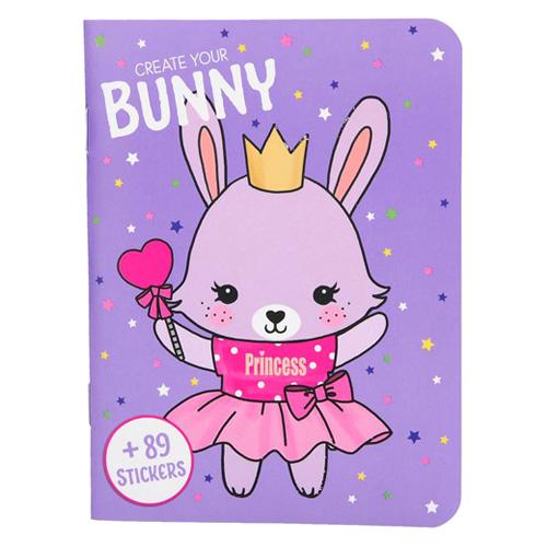 Kreativní sešit Create Your Bunny, 89 samolepek, fialový