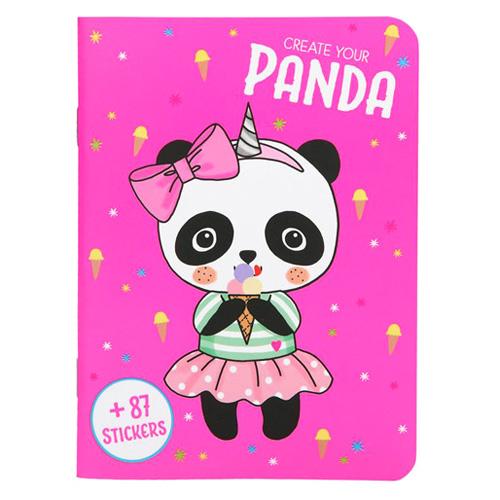 Kreativní sešit Create Your Panda, 87 samolepek, růžový
