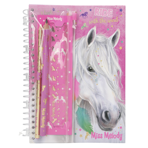Zápisník s psací soupravou Miss Melody Miss Melody, růžový