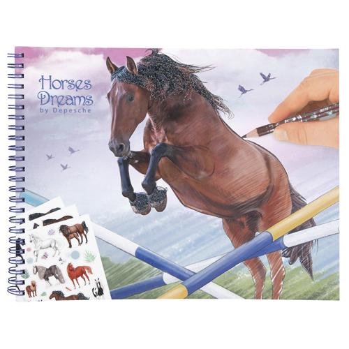 Omalovánky Horses Dreams Hnědý kůň skákající přes překážky