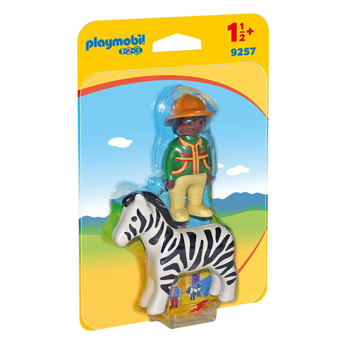 Ošetřovatel a zebra Playmobil 1.2.3, 2 ks