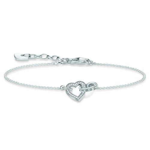 """Náramek """"Spolu srdce"""" Thomas Sabo SCA150231, Glam & Soul, 925 Sterling silver, zirconia white"""