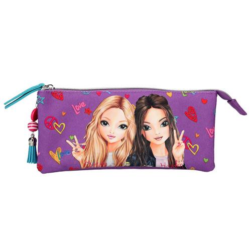 Školní penál taštička Top Model Christy a Hayden, tři přihrádky, fialový
