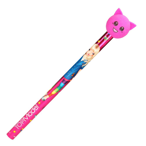 Tužka s gumou Top Model ASST Růžová kočička