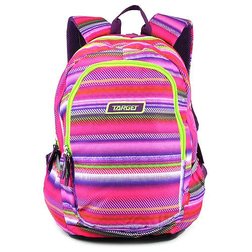 Studentský batoh Target Barevné pruhy, růžovo-zelený