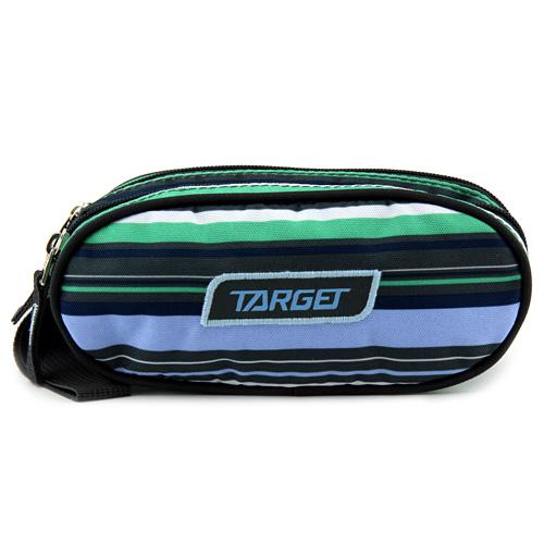 Školní penál Target Dvoukomorový, zeleno-modro-šedé pruhy