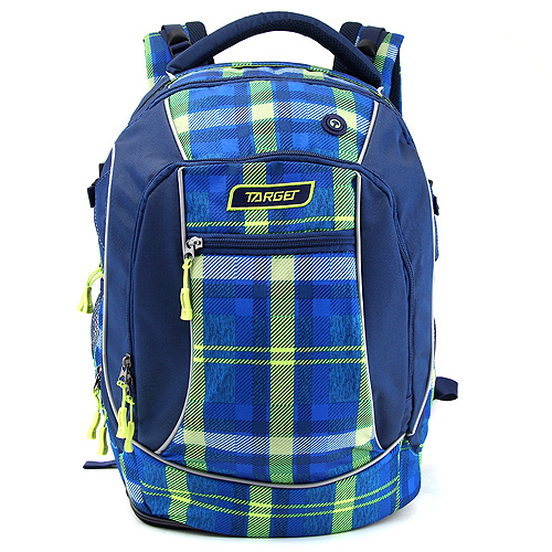 Studentský batoh Target Kostkovaný, zeleno-modrý
