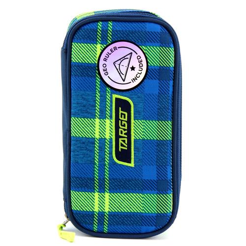 Školní penál bez náplně Target Compact Geo, s pravítkem, kostkovaný, modro-zelený