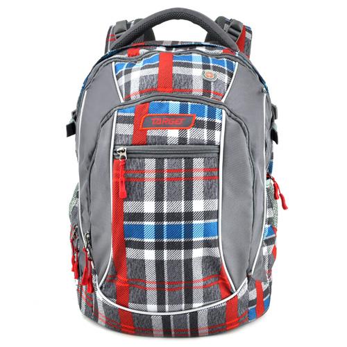 Studentský batoh Target Kostkovaný, červeno-modro-šedý