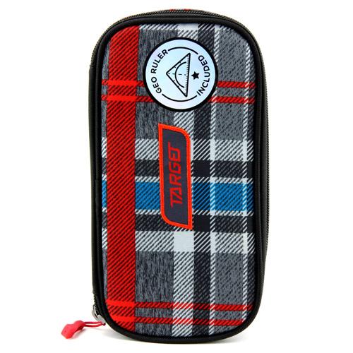 Školní penál bez náplně Target Compact Geo, s pravítkem, kostkovaný, červeno-modro-šedý