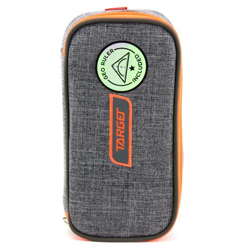 Školní penál bez náplně Target Compact Geo, s pravítkem, oranžovo-šedý