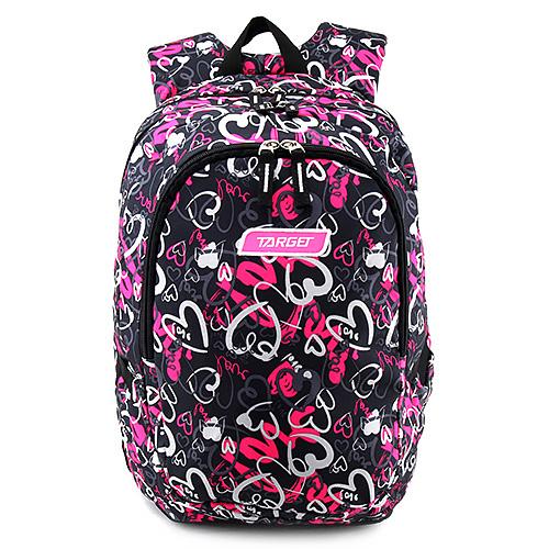 Studentský batoh Target Růžovo-černý se srdíčky