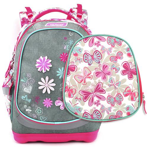 Školní batoh Target Květiny, růžovo-šedý