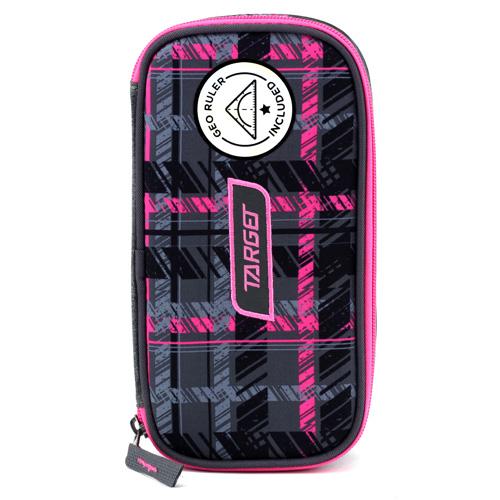 Školní penál bez náplně Target Compact Geo, s pravítkem, růžovo-šedo-černý