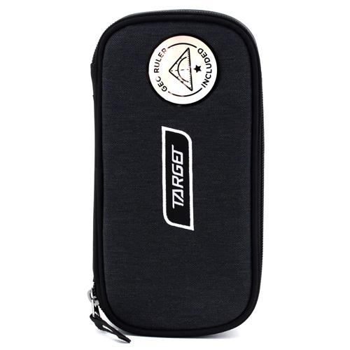 Školní penál bez náplně Target Compact Geo, s pravítkem, černý, bílé logo