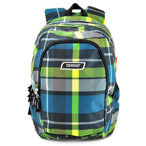 Studentský batoh Target Zeleno-modrý kostkovaný