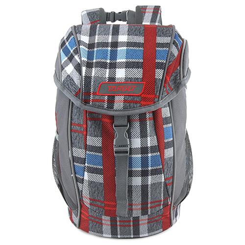 Batůžek Target Kostkovaný, červeno-modro-šedý